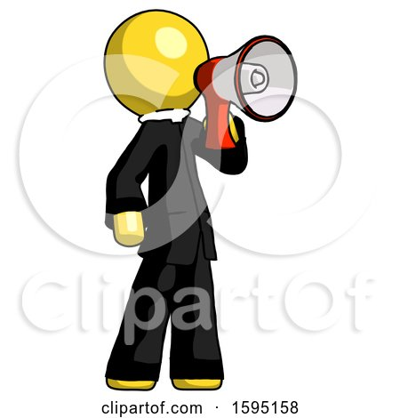 Yellow Clergy Man Shouting into Megaphone Bullhorn Facing Right by Leo Blanchette