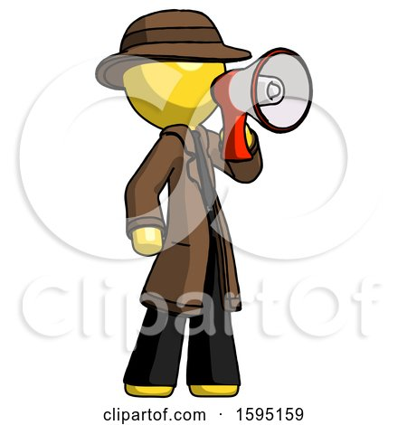 Yellow Detective Man Shouting into Megaphone Bullhorn Facing Right by Leo Blanchette