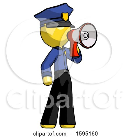 Yellow Police Man Shouting into Megaphone Bullhorn Facing Right by Leo Blanchette