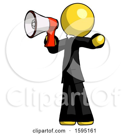 Yellow Clergy Man Shouting into Megaphone Bullhorn Facing Left by Leo Blanchette