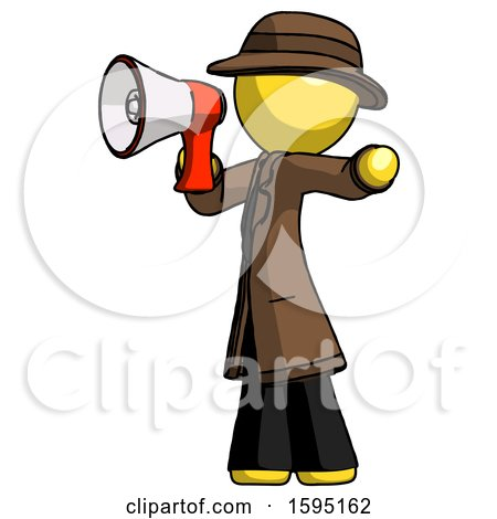 Yellow Detective Man Shouting into Megaphone Bullhorn Facing Left by Leo Blanchette