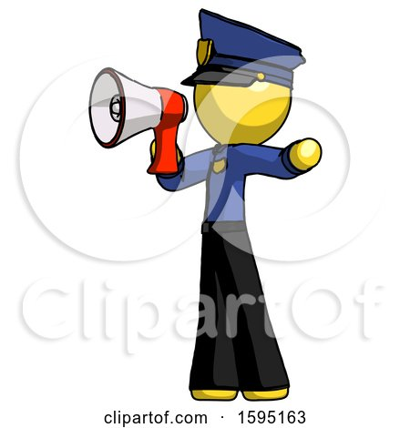 Yellow Police Man Shouting into Megaphone Bullhorn Facing Left by Leo Blanchette
