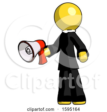 Yellow Clergy Man Holding Megaphone Bullhorn Facing Right by Leo Blanchette