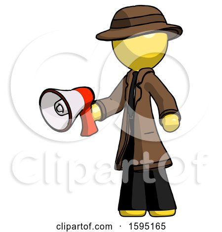 Yellow Detective Man Holding Megaphone Bullhorn Facing Right by Leo Blanchette