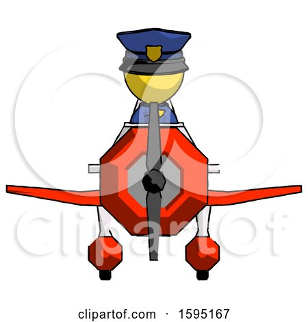 Yellow Police Man in Geebee Stunt Plane Front View by Leo Blanchette