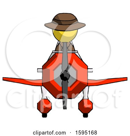 Yellow Detective Man in Geebee Stunt Plane Front View by Leo Blanchette