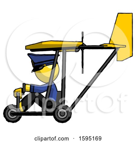 Yellow Police Man in Ultralight Aircraft Side View by Leo Blanchette