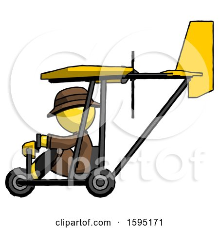 Yellow Detective Man in Ultralight Aircraft Side View by Leo Blanchette