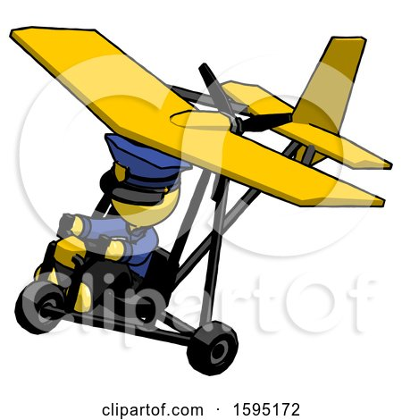 Yellow Police Man in Ultralight Aircraft Top Side View by Leo Blanchette