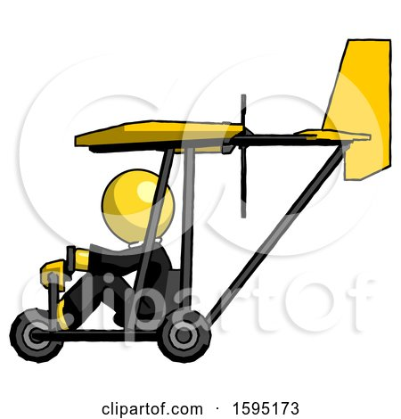 Yellow Clergy Man in Ultralight Aircraft Side View by Leo Blanchette