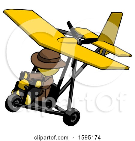 Yellow Detective Man in Ultralight Aircraft Top Side View by Leo Blanchette
