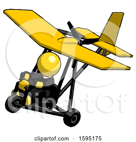 Yellow Clergy Man in Ultralight Aircraft Top Side View by Leo Blanchette