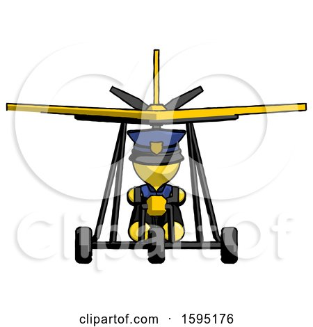 Yellow Police Man in Ultralight Aircraft Front View by Leo Blanchette