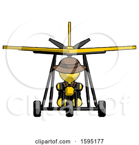 Yellow Detective Man in Ultralight Aircraft Front View by Leo Blanchette