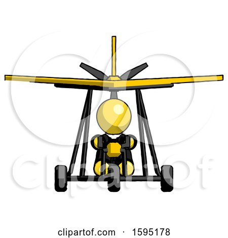 Yellow Clergy Man in Ultralight Aircraft Front View by Leo Blanchette