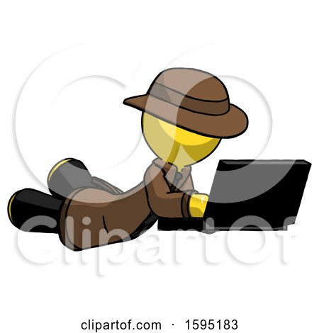 Yellow Detective Man Using Laptop Computer While Lying on Floor Side Angled View by Leo Blanchette