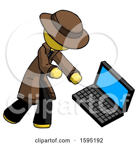 Yellow Detective Man Throwing Laptop Computer in Frustration by Leo Blanchette