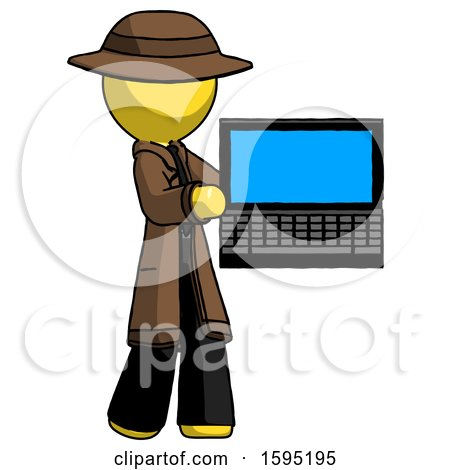 Yellow Detective Man Holding Laptop Computer Presenting Something on Screen by Leo Blanchette