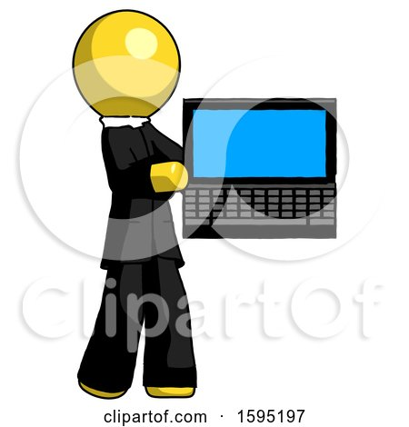Yellow Clergy Man Holding Laptop Computer Presenting Something on Screen by Leo Blanchette