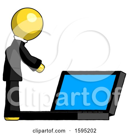 Yellow Clergy Man Using Large Laptop Computer Side Orthographic View by Leo Blanchette