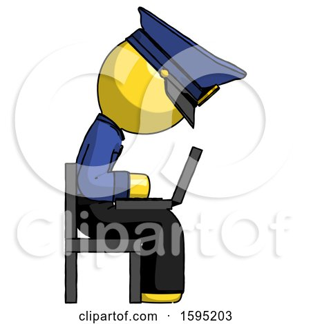 Yellow Police Man Using Laptop Computer While Sitting in Chair View from Side by Leo Blanchette