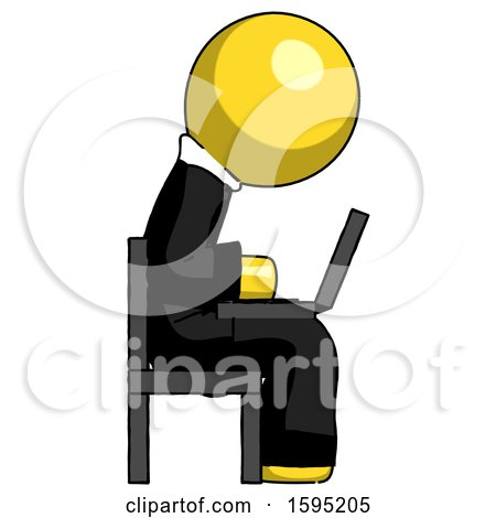 Yellow Clergy Man Using Laptop Computer While Sitting in Chair View from Side by Leo Blanchette
