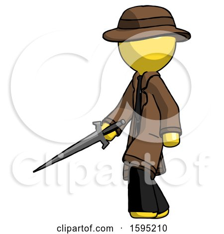 Yellow Detective Man with Sword Walking Confidently by Leo Blanchette