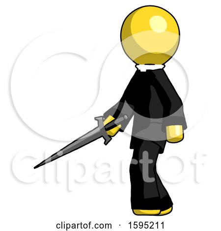 Yellow Clergy Man with Sword Walking Confidently by Leo Blanchette
