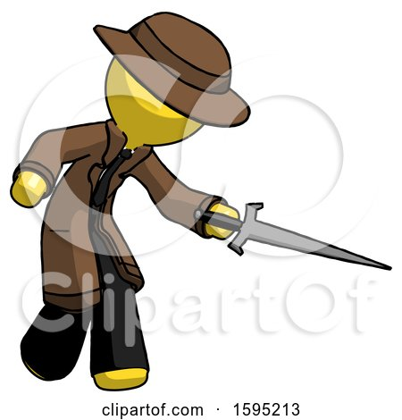 Yellow Detective Man Sword Pose Stabbing or Jabbing by Leo Blanchette