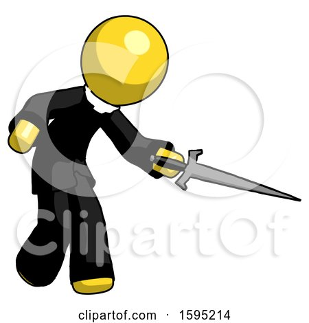 Yellow Clergy Man Sword Pose Stabbing or Jabbing by Leo Blanchette