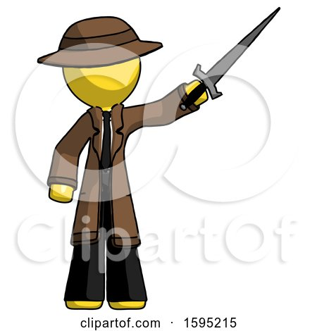 Yellow Detective Man Holding Sword in the Air Victoriously by Leo Blanchette