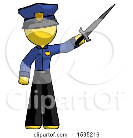 Yellow Police Man Holding Sword in the Air Victoriously by Leo Blanchette
