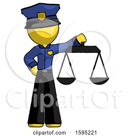 Yellow Police Man Holding Scales of Justice by Leo Blanchette