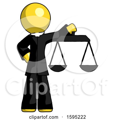Yellow Clergy Man Holding Scales of Justice by Leo Blanchette
