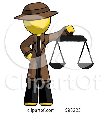 Yellow Detective Man Holding Scales of Justice by Leo Blanchette