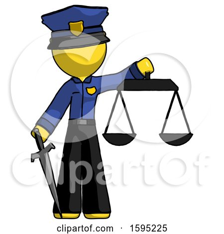Yellow Police Man Justice Concept with Scales and Sword, Justicia Derived by Leo Blanchette