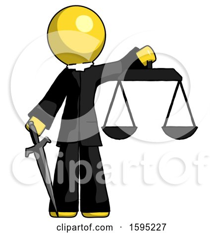 Yellow Clergy Man Justice Concept with Scales and Sword, Justicia Derived by Leo Blanchette