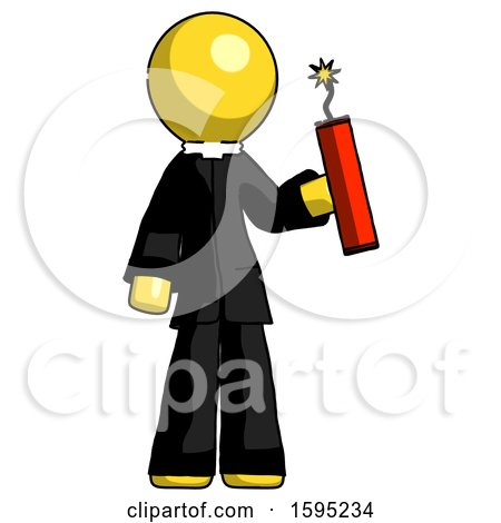 Yellow Clergy Man Holding Dynamite with Fuse Lit by Leo Blanchette