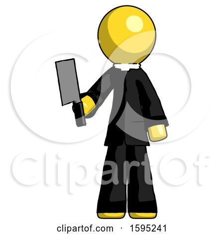 Yellow Clergy Man Holding Meat Cleaver by Leo Blanchette
