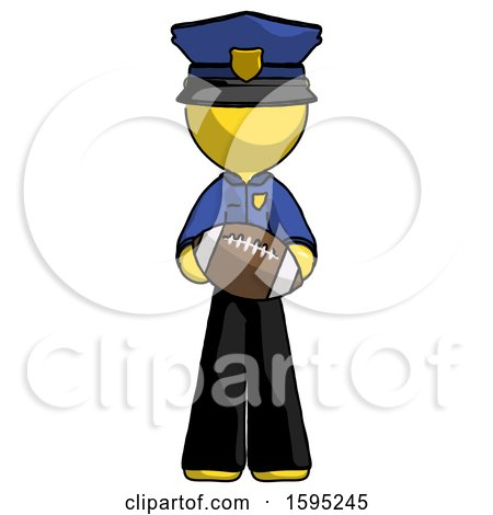 Yellow Police Man Giving Football to You by Leo Blanchette
