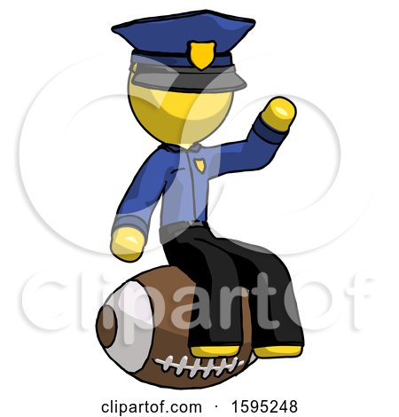 Yellow Police Man Sitting on Giant Football by Leo Blanchette