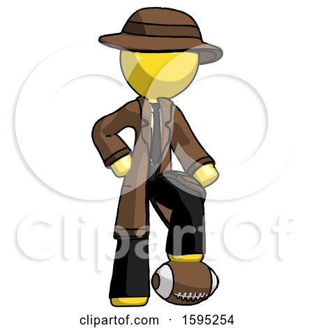 Yellow Detective Man Standing with Foot on Football by Leo Blanchette