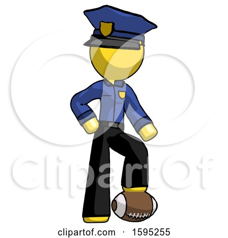 Yellow Police Man Standing with Foot on Football by Leo Blanchette