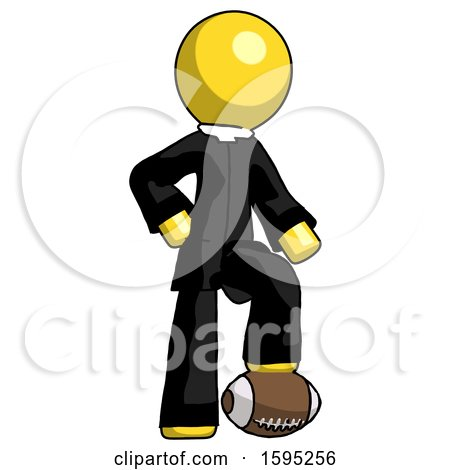 Yellow Clergy Man Standing with Foot on Football by Leo Blanchette