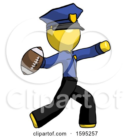 Yellow Police Man Throwing Football by Leo Blanchette