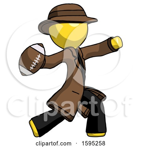 Yellow Detective Man Throwing Football by Leo Blanchette