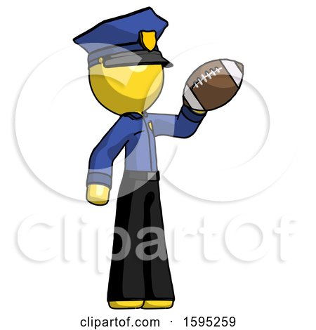 Yellow Police Man Holding Football up by Leo Blanchette