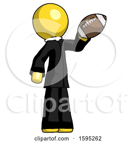 Yellow Clergy Man Holding Football up by Leo Blanchette