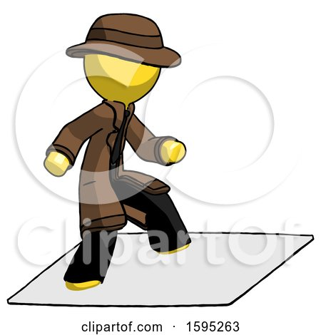 Yellow Detective Man on Postage Envelope Surfing by Leo Blanchette
