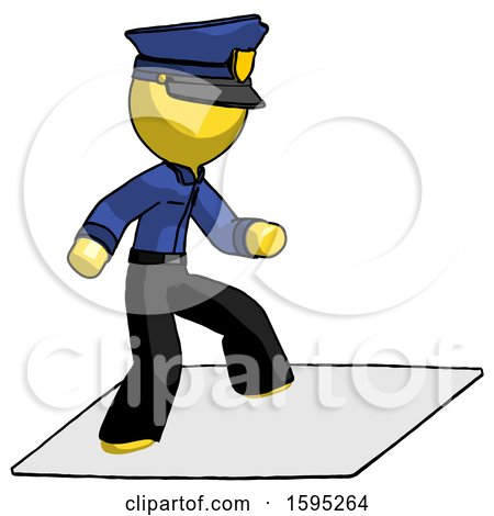 Yellow Police Man on Postage Envelope Surfing by Leo Blanchette